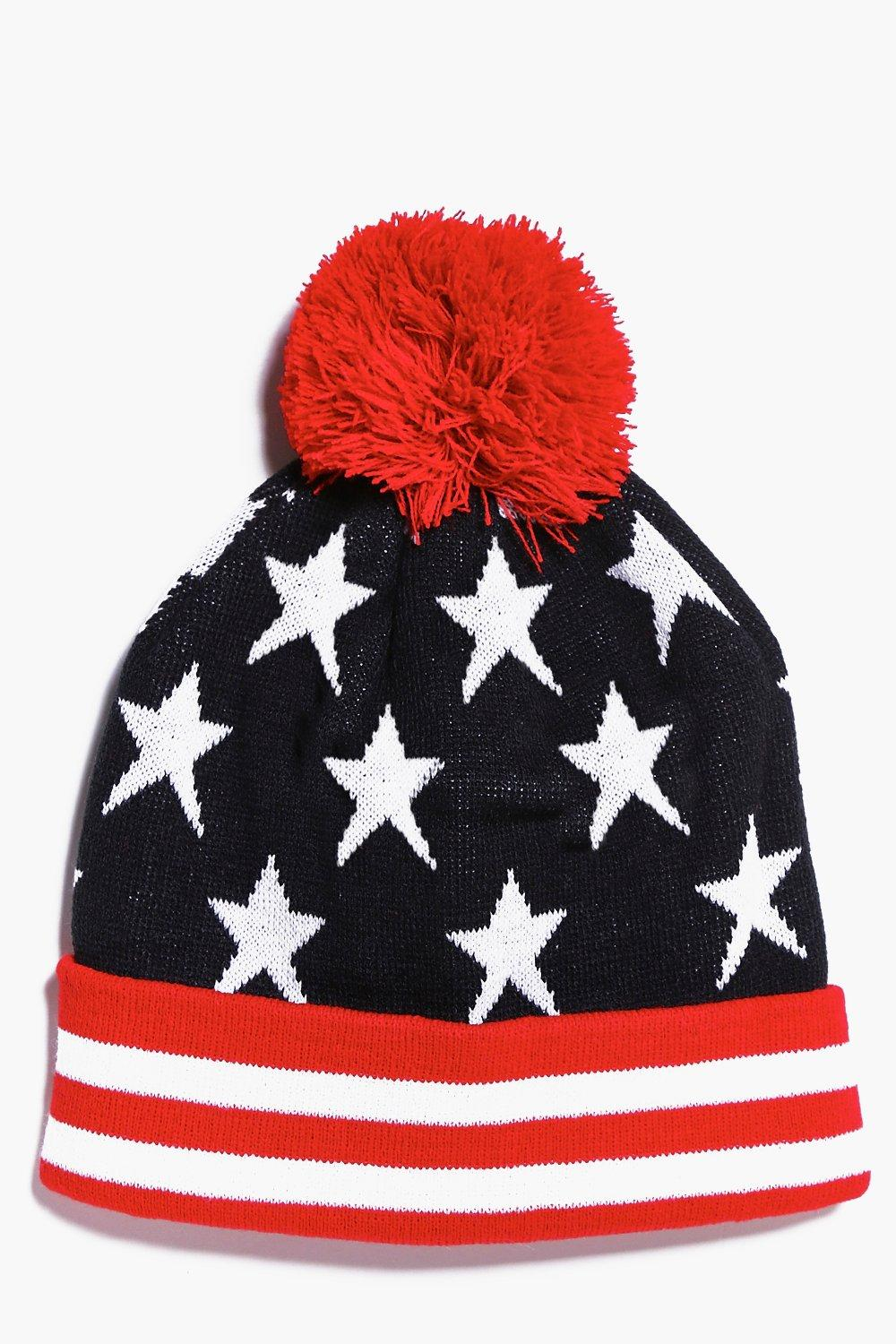 And Stripes Bobble Hat  red