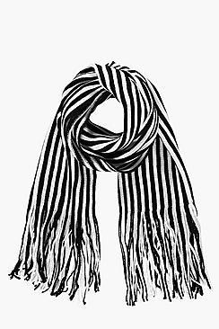 Vintage Scarves- New in the 1920s to 1960s Styles Stripe Scarf black $18.00 AT vintagedancer.com