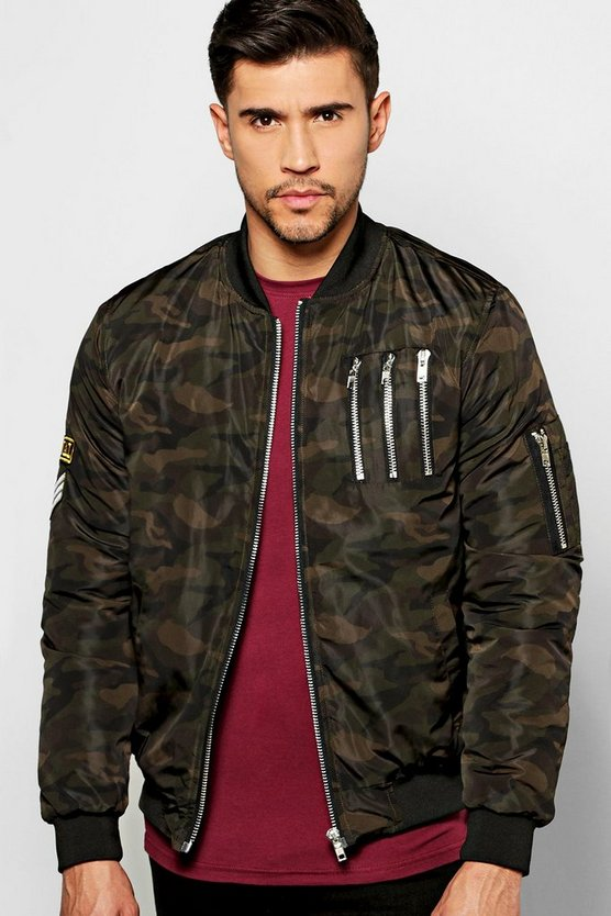 Camo Multi Zip MA1 Bomber With Badges