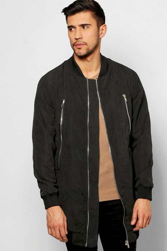 Smart Woven Zipped Longline Bomber Jacket