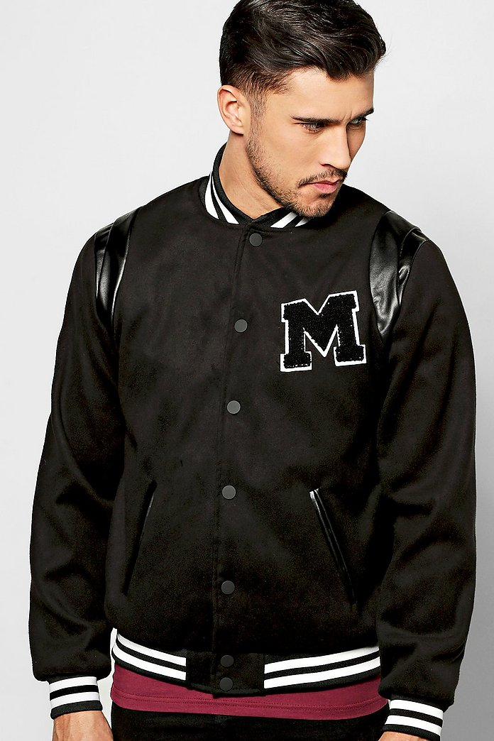 Melton Varsity Jacket With Chest Badge