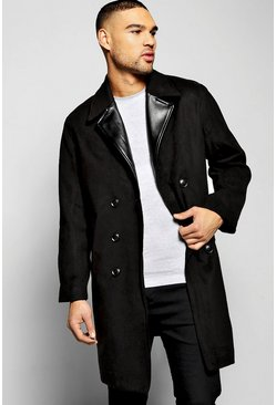 Smart Wool Look Overcoat With PU Lapel
