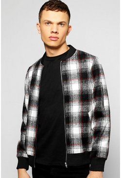 Brushed Wool Look Checked Bomber Jacket