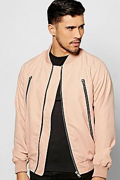 Smart Woven Zipped Bomber Jacket