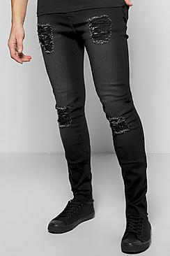 Stretch Skinny Fit Destroyed Jeans