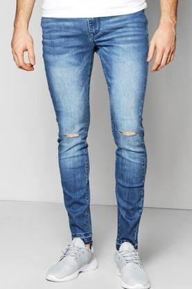 Super Skinny Stretch Fit Raw Cuff Jeans