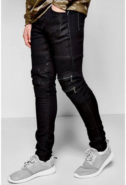 Super Skinny Fit Biker Jeans With Zipped Knees