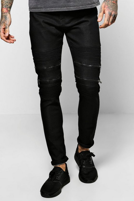 Super Skinny Biker Jeans With Zipped Knees