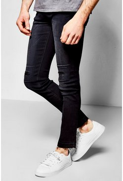 Skinny Fit Stretch Jean With Raw Edge Cuff