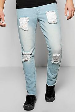 Slim Fit Rigid Destroyed Jeans
