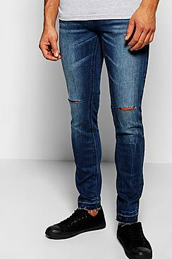 Skinny Fit Stretch Raw Edged Cuff Jeans