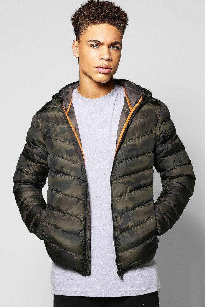 Quilted Camo Jacket With Hood