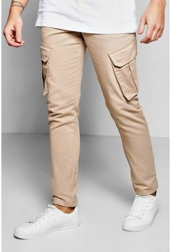 Skinny Cargo Trousers With Raw Edge Hem
