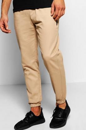 Cotton Twill Skinny Chinos With Cuff Hem