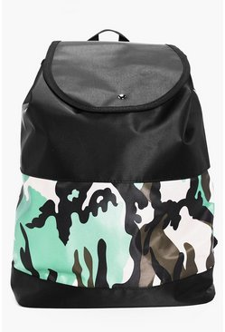 Press Stud Rucksack Camo Colour Blocked