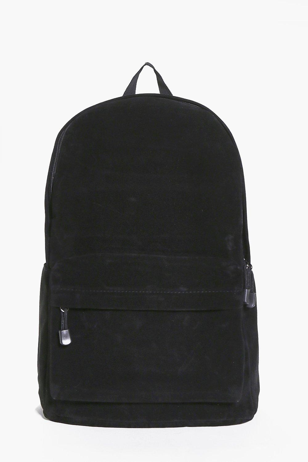 Rucksack With Front Zip Pocket - black - Suedette