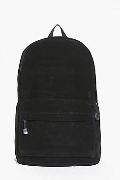 sac à dos en suédine avec poche zippée sur le devant