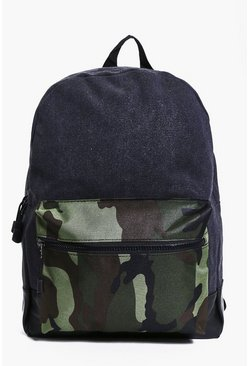 Canvas And PU Mixed Camo Back Pack