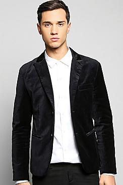 Single Breasted Velvet Blazer with Satin Collar