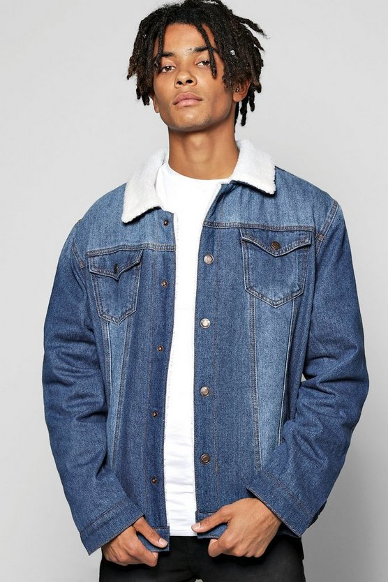 Oversized Fully Borg Lined Denim Jacket