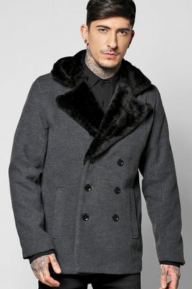 Wool Look Overcoat With Fur Collar