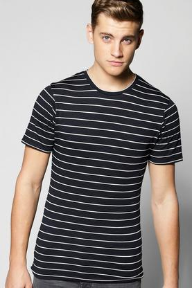 Navy Stripe Muscle Fit T Shirt