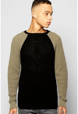 Waffle Stitch Raglan Sleeve Colour Blocked Jumper