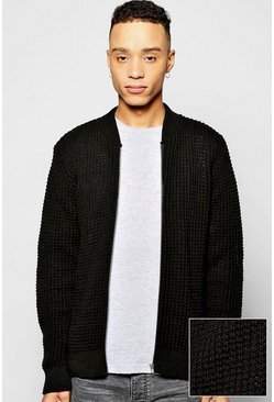 Waffle Stitch Zip Through Knitted Bomber
