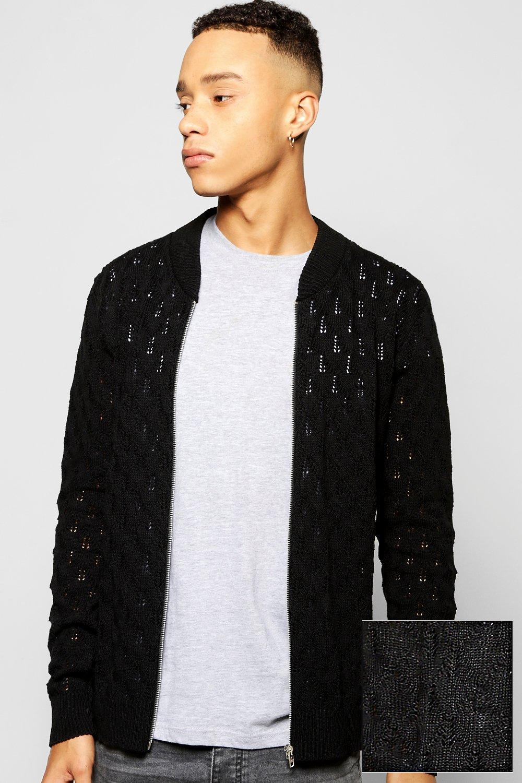 Textured Knitted Bomber Full Zip