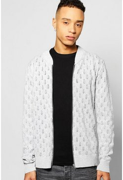 Textured Knitted Bomber Full Zip