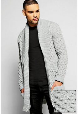 Cable Knit Cardigan With Plackett