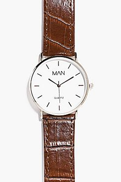 Classic Watch With Faux Snakeskin Strap