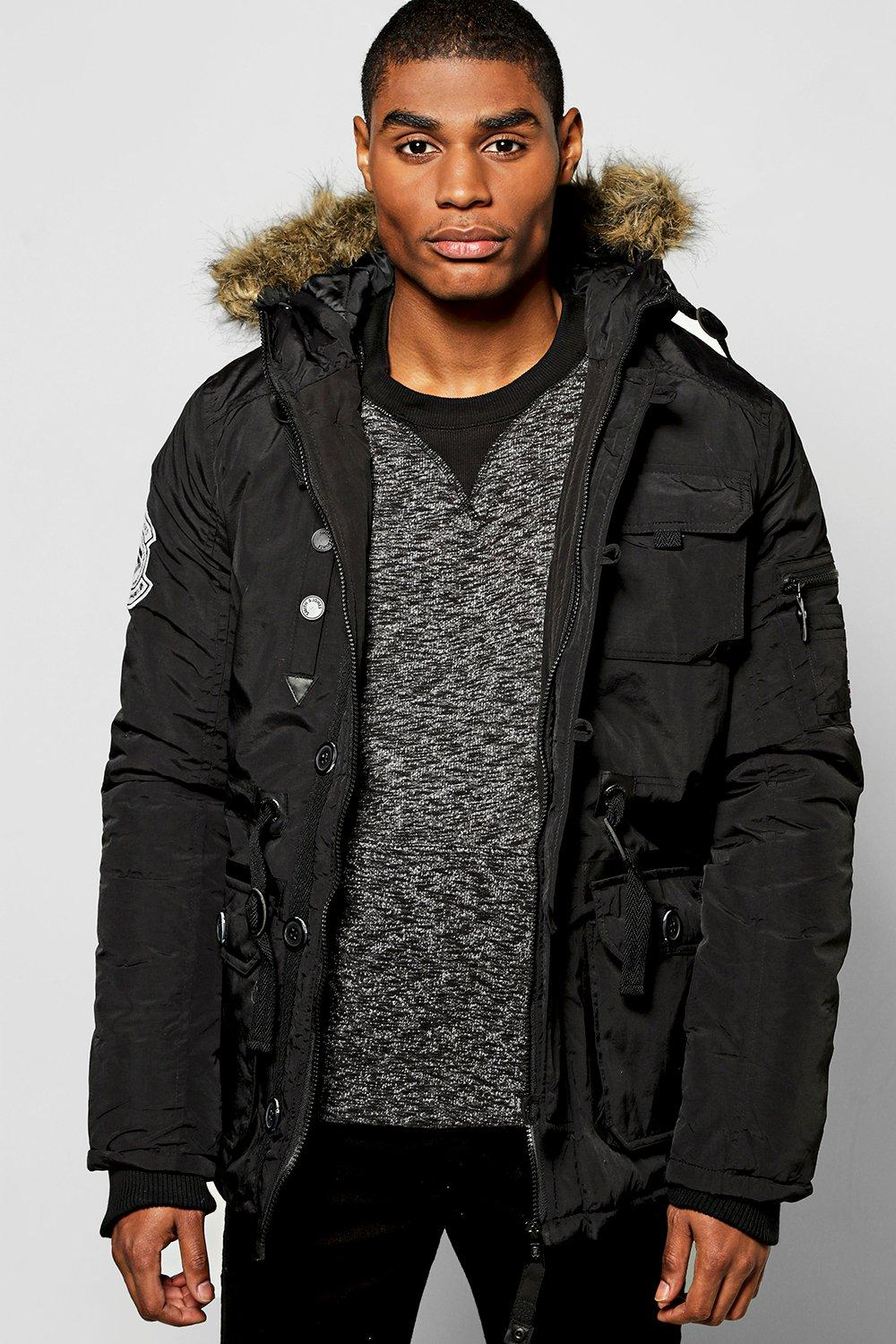 Faux Fur Hooded Parka With MA1 Shoulder