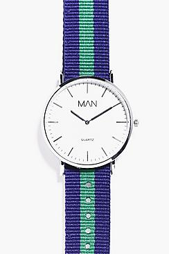 Classic Watch With Striped Grosgrain Strap