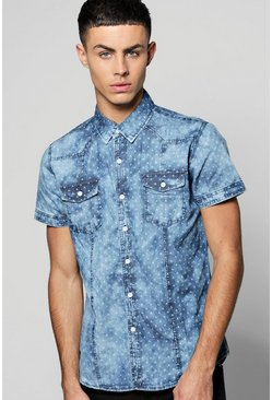 Printed Short Sleeve Denim Shirt