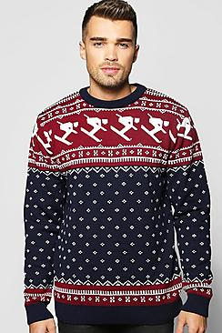 Skiing Fairisle Christmas Jumper