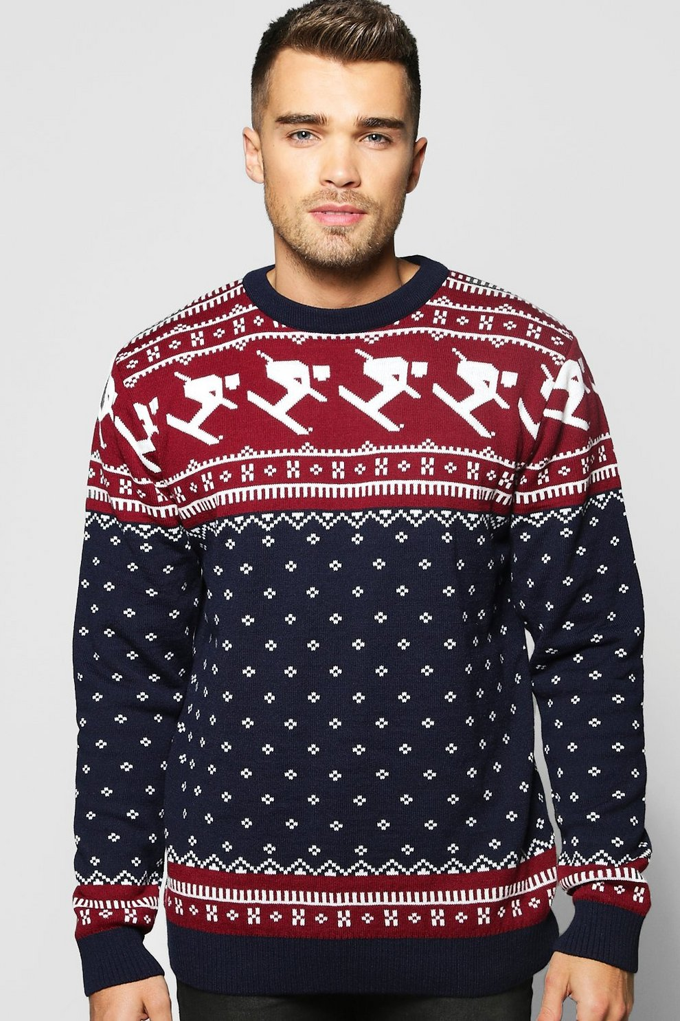 Skiing Fairisle Christmas Jumper | Boohoo