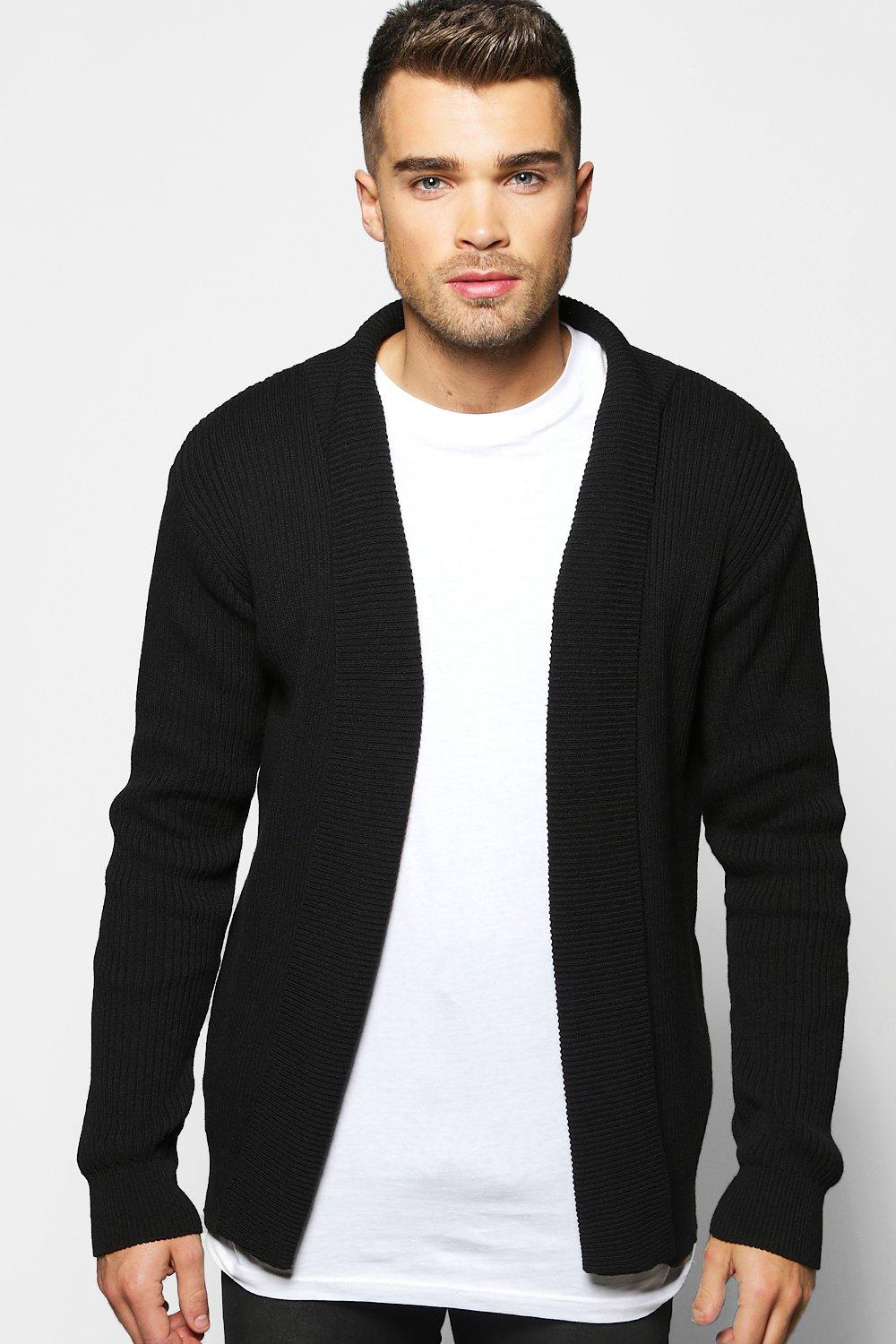 Muscle Fit Ribbed Cardigan