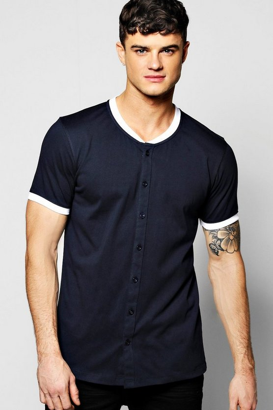 Bomber Neck Button Through T-Shirt