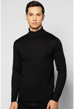 Fine Gauge Knitted Roll Neck Jumper