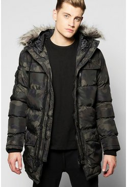 Faux Fur Hooded Camo Quilted Parka