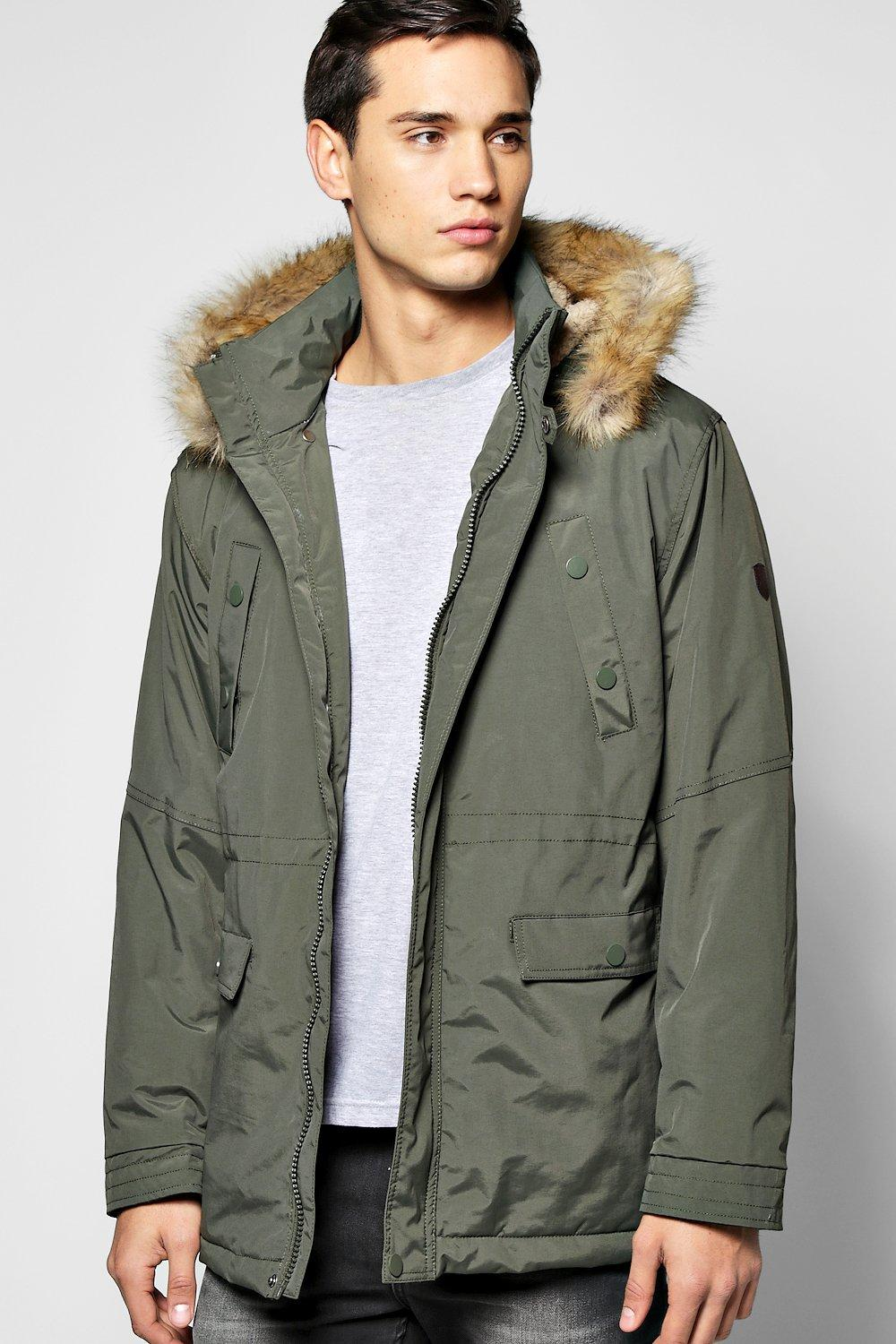 Hooded Parka Jacket With Borg Lined Hood
