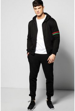 Skinny Fit Stripe Detail Hooded Tracksuit