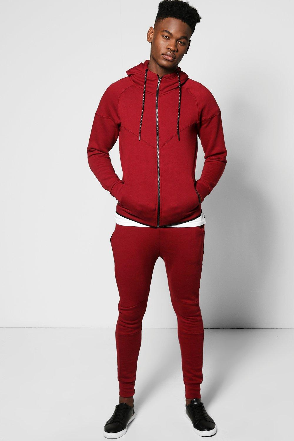 Skinny Fit Panel Hooded Tracksuit