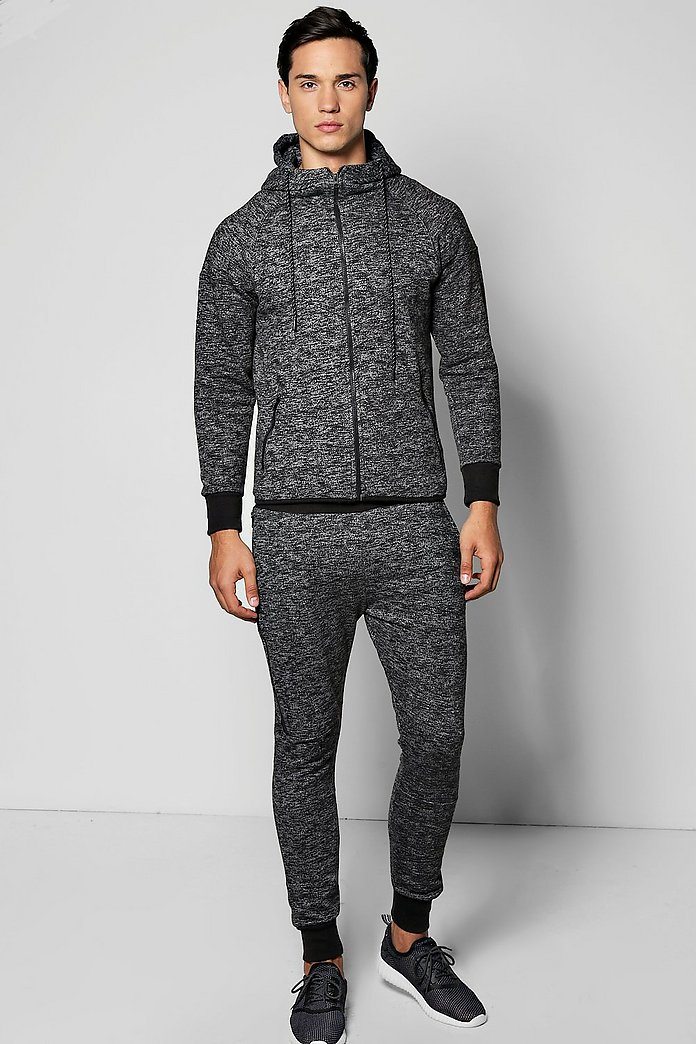 Skinny Fit Fleck Hooded Tracksuit