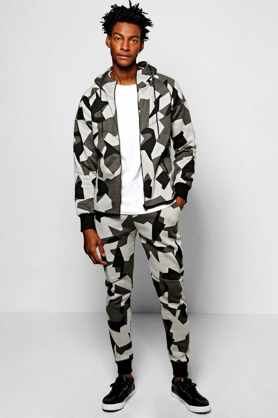 Skinny Fit Geo Camo Hooded Tracksuit