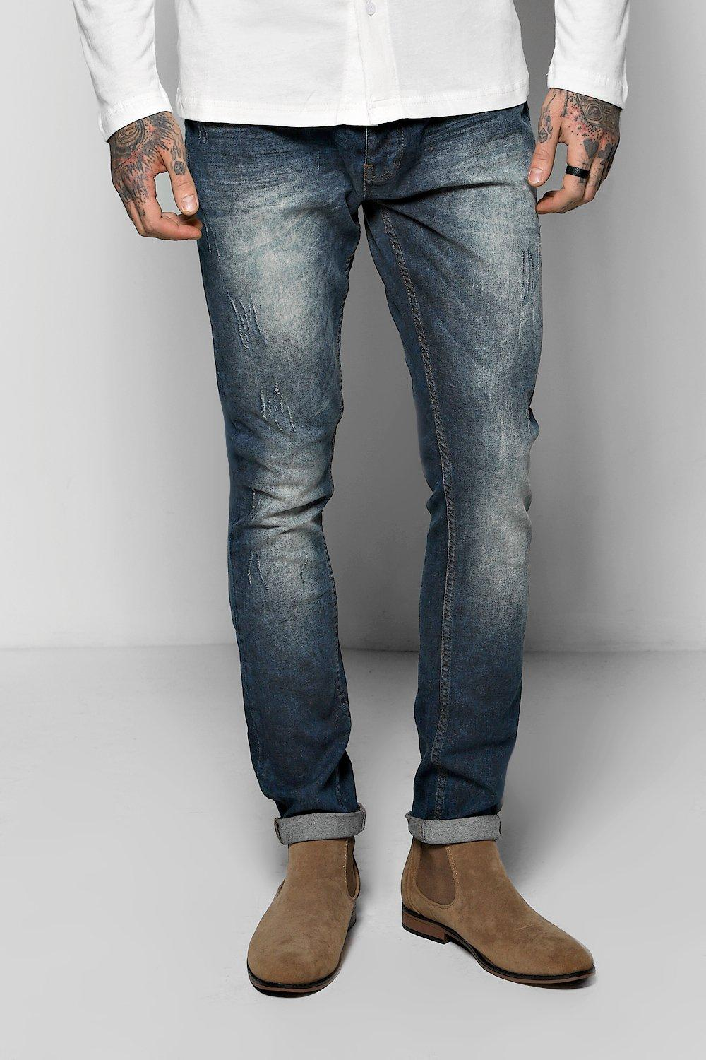 Stretch Skinny Fit Inidgo Acid Wash Jeans