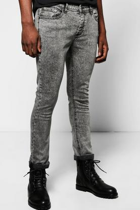 Stretch Skinny Fit Acid Wash Jean Regular