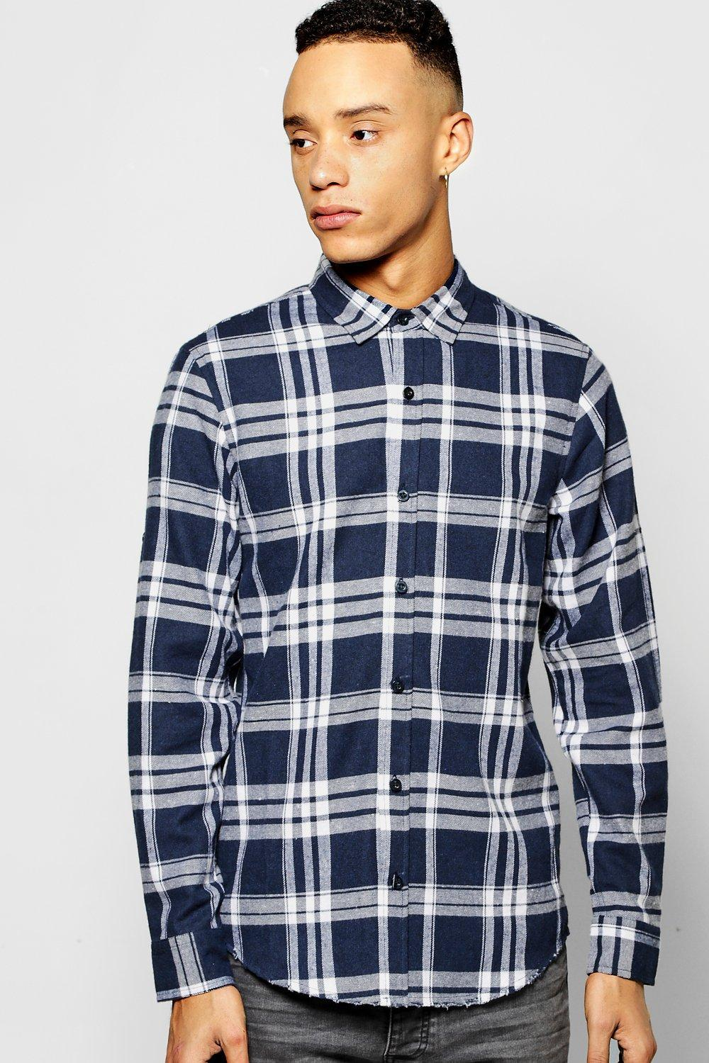 Buffalo Check Shirt With Frayed Hem