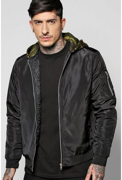 Quilted MA1 Bomber With Camo Jersey Hood